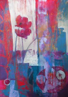 """""""Poppy Heads"""" abstracted Still Life on paper, 50cm x 65cm"""