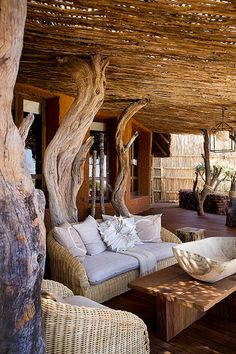 South Africa safari package with Madikwe Game Reserve, Tswalu Kalahari, and Cape Town. Ask our Africa experts about customizing a South Africa vacation! Outdoor Spaces, Outdoor Living, Yoga Studio Design, African Interior, Interior And Exterior, Interior Design, Bamboo House, Natural Building, Lodge Decor
