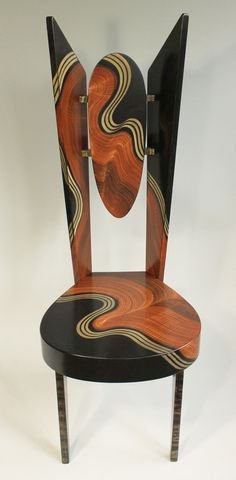 Burl Swirl Wing Chair by Ingela Noren and Daniel Grant. Chair made of wood and painted with milk paints and lacquered. Back piece is adjustable for lumbar support.