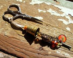 Repurposed Antique Brass Thimble Scissor Fob with Beaded Waterfall Accent Beaded Jewelry, Handmade Jewelry, Sewing Notions, Pin Cushions, Scissors, Antique Brass, Repurposed, Tassels, Jewelry Making