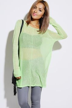 #1015store.com #fashion #style bright green sheer sweater knit tunic top-$15.00 - But NOT in green!