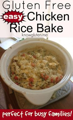 Gluten Free Easy Chicken Rice Bake from knowgluten.me . Perfect for busy families!! #glutenfree #onedishdinner
