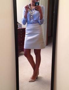 F21 button-up, LOFT skirt, DSW shoes, bubble necklace via eBay