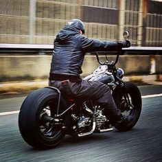 """Bigtwin custom with wide rear tire, springer front end and 18""""(?) front wheel 