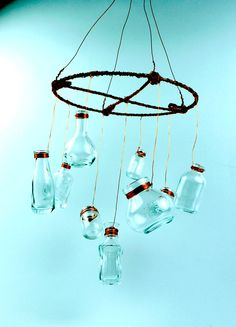 This glass bottle mobile our designer made is enchanting. All the bottles are available on www.cffstore.com
