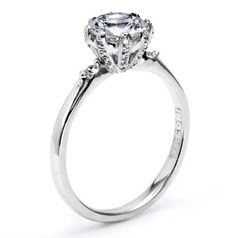 Simply Tacori Collection 8 prong Round Solitaire Engagement Ring with Round Diamond Accents Diamond .16cttw (center Stone Not Included)