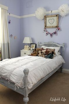 Lovely French Style Teen Girls Bedroom Designs : Purple Lilyfield Life French Style Teen Girls Bedroom Design with Classic White Painted Woo...