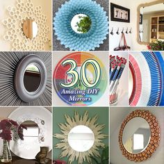 30 Amazing DIY Decorative Mirrors...love the PVC pipe one for the living room