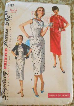 Simplicity 1117 sheath dress and jacket pattern 1950s