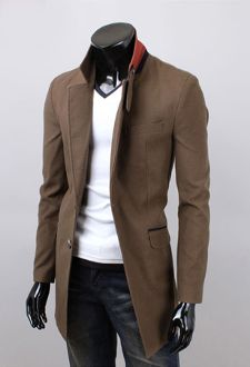 Men's Button Down Mid Length Blazer with Collar Details