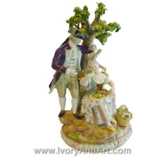 For reasons unknown to me, this porcelain art reminds me of Romeo and Juliet. Can you help me figure out why? Does it remind you of the same? Please share in the comments below. http://www.ivoryandart.com/product/impressive-19th-ce-meissen-porcelain-gardners-lovers-under-a-tree-d94/ #art #sculpture #sculptures #antique #antiques #artist #ivory #netsuke #mammoth #arts #mould #craft #decor #handmade #sculpted #silver #bronze #free #porcelain #tusk #mammothivory #gems