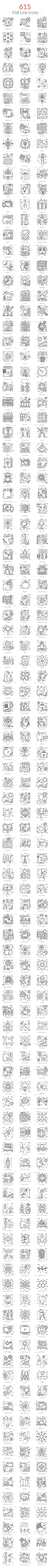 615 Flat Line Icons - Icons