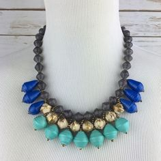 """[Vintage] Teng Yue Beaded Statement Bobo Necklace Unique vintage statement necklace. Signed Teng Yue on the clasp. Painted wooden beads. Lightweight. Cool magnetic ball & loop closure.   Color: Gray, Blue, Gold Length:  21"""" Condition: Good vintage condition. Some light wear on the paint on a few beads. Not noticeable nor does it affect the look.  No Trades! No PayPal! Vintage Jewelry Necklaces"""