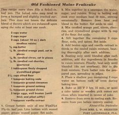 Vintage Christmas Fruitcake Recipes Old Fashioned Maine Fruitcake (christmas fruit recipes) Retro Recipes, Old Recipes, Vintage Recipes, Cake Recipes, Cooking Recipes, Fruit Recipes, Cookbook Recipes, Old Fashioned Fruit Cake Recipe, Recipes
