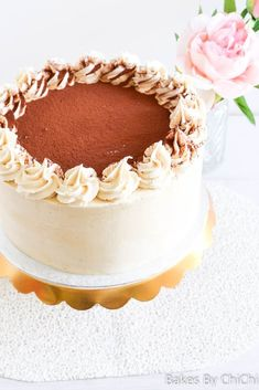 This tiramisu cake is layers of coffee soaked genoise sponge filled with mascarpone cream and frosted with espresso buttercream. Easy Cake Recipes, Baking Recipes, Chocolates, Coffee Buttercream, Buttercream Cake, Tiramisu Cake, Tiramisu Recipe, Cake Board, Round Cakes