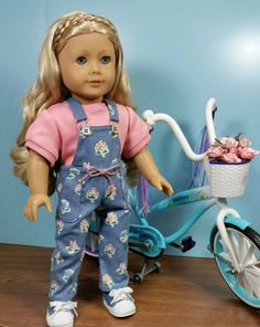 Not Your Mama's Overalls in Blue Floral with Knit Shirt fits American Girl and 18 in dolls for Girls and Collectors