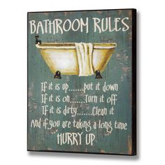 Wooden Vintage Bathroom Rules Sign Shabby Wall Door Toilet Plaque Chic Decor in Home, Furniture & DIY, Home Decor, Plaques & Signs | eBay