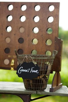How much fun is this at your wedding reception! Connect Four or Four in a Row Outdoor Games! Winfrey Point Lawn Games with a vintage twist! @DixiDoesVintage DIXIE DOES VINTAGE Rentals