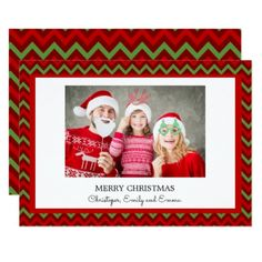Merry Christmas Red and Green Chevron Photo Card - holidays diy custom design cyo holiday family