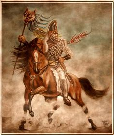 Taraboste calare, Dacian rider with wolf flag dracones
