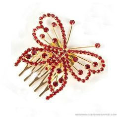 Red Butterfly Wedding Headpieces