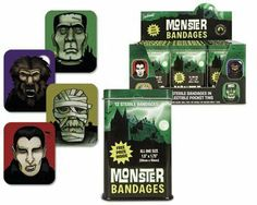 "Monster Bandages (Quantity=2 Tins) by Accoutrements. $9.99. Scare away the pain of minor cuts and scratches with Monster Bandages!  Each 3-3/4"" (9.5 cm) tall metal pocket tin contains twelve 1-3/4"" x 1-1/2"" (4.4 cm x 3.8 cm) latex-free adhesive bandages with sterile gauze and a FREE PRIZE to help make even the ouchiest owies feel all better in no time."