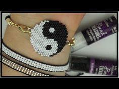 YIN YANG PULSERA/PULSERA DE MIYUKI DELICAS/BRICK STITCH - YouTube Diy Jewelry Unique, Jewelry For Her, Jewelry Crafts, Bead Jewellery, Beaded Jewelry, Beaded Bracelets, Diy Bracelet Designs, Brick Stitch Earrings, Ankle Chain