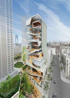 The architecture firm Diller Scofidio + Renfro will release an unorthodox design for a tower of study and social spaces for Columbia University Medical Center's new medical and graduate education building in Washington Heights. Architecture Design, Futuristic Architecture, Beautiful Architecture, Contemporary Architecture, Landscape Architecture, Installation Architecture, Building Architecture, Chinese Architecture, Building Exterior