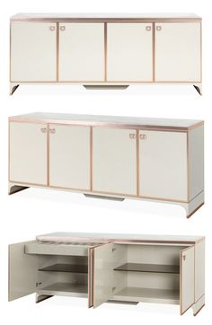Featuring two of the season's top interior trends, the marble and rose gold elements of this elegant sideboard make it a coveted piece. The rich cappuccino marble top is contrasted with a glossy cream lacquered frame, accented with copper trim detail. Both pieces create an ideal focal point in a living room, hallway or bedroom.