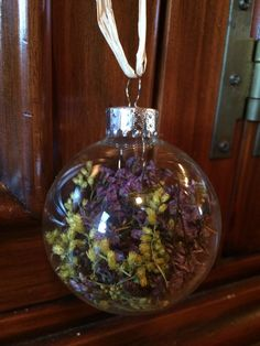 Dried Limonium and Goldenrod Ornament by TheFancyMoose on Etsy