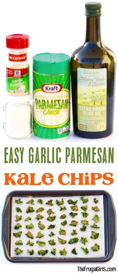 Easy Garlic Parmesan Kale Chips Recipe from TheFrugalGirls.com