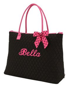 Personalized Tote Bag | Personalized XLarge Tote Bag Black Hot Pink accents
