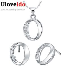 Jewelry Sets & More 925 Jewelry Silver Plated Jewelry Set,cheap Bridal Party Sets,simple 8 Letter Fashion Silver Necklace Earring Ring Three-piece