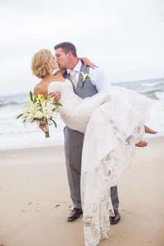 Love this beach wedding photo by @kristi245
