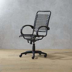 Bungee-style cords, a gas lift, rolling casters and a swivel spin make this executive chair worth the ride to the top. Strong elastic black cords give firm, cushioned support and lessen fatigue.