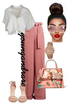 """""""Untitled #370"""" by ayanna-cooper ❤ liked on Polyvore featuring Valentino, Gucci, Vionnet, Stuart Weitzman, Quay, Lime Crime and Michael Kors"""
