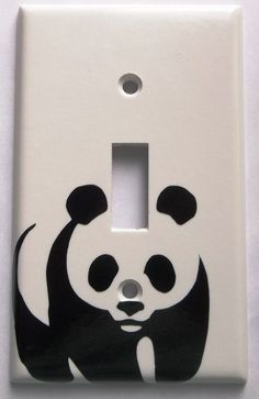 Panda Bear You Pick Color Light Switch Plate Cover Vinyl Decal Kitchen Bedroom Bathroom Wall Decor Decoration H by ChrisCraftiedecor on Etsy