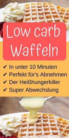 Super fast and easy low carb waffles in under 10 minutes. All low carb fans have to try this recipe! Super fast and easy low carb waffles in under 10 minutes. All low carb fans have to try this recipe! Low Carb Waffles, Low Carb Pizza, Low Carb Desserts, Low Carb Recipes, Healthy Recipes, Easy Recipes, Health Desserts, Low Card Meals, Law Carb