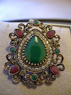 Ethnic Tribal Jewellery Ruby Emerald crystal Brooch,collar pin,Hijab broach,