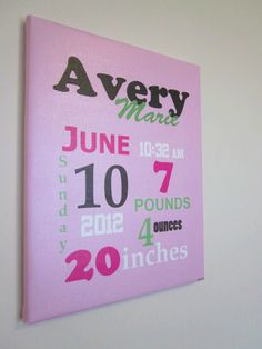 Canvas Birth Information Wall Art Birth Announcement Canvas, Picture Hangers, Child's Room, Baby Party, Keepsakes, Girl Nursery, Decoration, Silhouette Cameo, Sydney