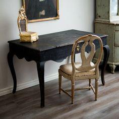 Swedish Rococo Desk, Ca 1760 Swedish Interior Design, Swedish Decor, Swedish Interiors, Swedish Style, Swedish House, Interior Styling, Black Furniture, Table Furniture, Painted Furniture