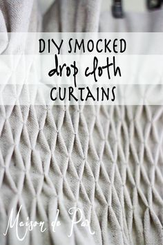 DIY Home Decor on a budget - These diy smocked drop cloth curtains are gorgeous and so inexpensive! DIY Home Decor on a budget - These diy smocked drop cloth curtains are gorgeous and so inexpensive! Curtains And Draperies, No Sew Curtains, Drop Cloth Curtains, Rod Pocket Curtains, Valances, Blackout Curtains, Window Curtains, Kitchen Curtains, Gypsy Curtains