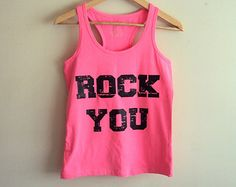 Check out our neon pink tank top selection for the very best in unique or custom, handmade pieces from our tanks shops. Jean Shirt Dress, Running Tanks, Yoga Tops, Workout Tank Tops, Grunge Fashion, Pink Lace, Fitness Top, Neon, Grunge Style