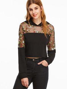 Black Floral Embroidered Mesh Shoulder Crop Hoodie