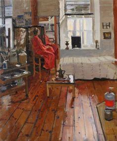 Ken Howard_Model in red inches, oil on canvas Artists And Models, Great Artists, Artist Life, Artist Art, Ken Howard, I Love Mirrors, Royal College Of Art, Window Art, Art Model