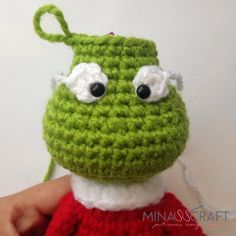 The Grinch Amigurumi Crochet Elephant Pattern Free, Knitted Washcloth Patterns, Crochet Basket Pattern, Crochet Amigurumi Free Patterns, Crochet Stitches Patterns, Crochet Christmas Hats, Christmas Crochet Patterns, Holiday Crochet, Crochet Teddy
