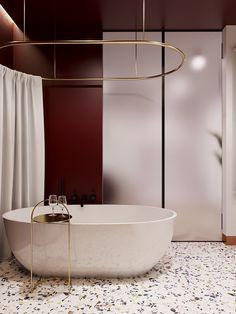 burgundy bathroom on Behance Burgundy Bathroom, All White Bathroom, Modern Bathroom Decor, Bathroom Interior, Home Interior, Small Bathroom, Bathroom Ideas, Adobe Photoshop, Burgundy Decor