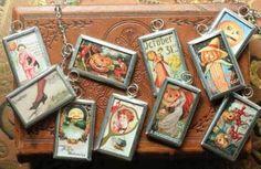 tiny halloween postcard leaded pendants