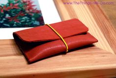 Pink Leather No Sew Cardholder DIY