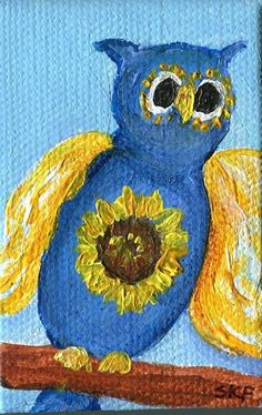Blue and yellow Owl mini painting , sunflower Original miniature Painting on Canvas 2 x 3 with Easel, Small Artwork by SharonFosterArt on Etsy